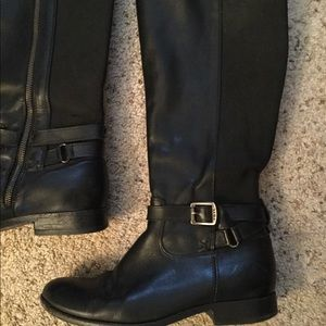 Frye Shoes - FRYE TALL BLACK LEATHER RIDING MOTO BOOTS sz 10